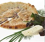 Цахараджын со свекольными листьями, сыром и зеленью